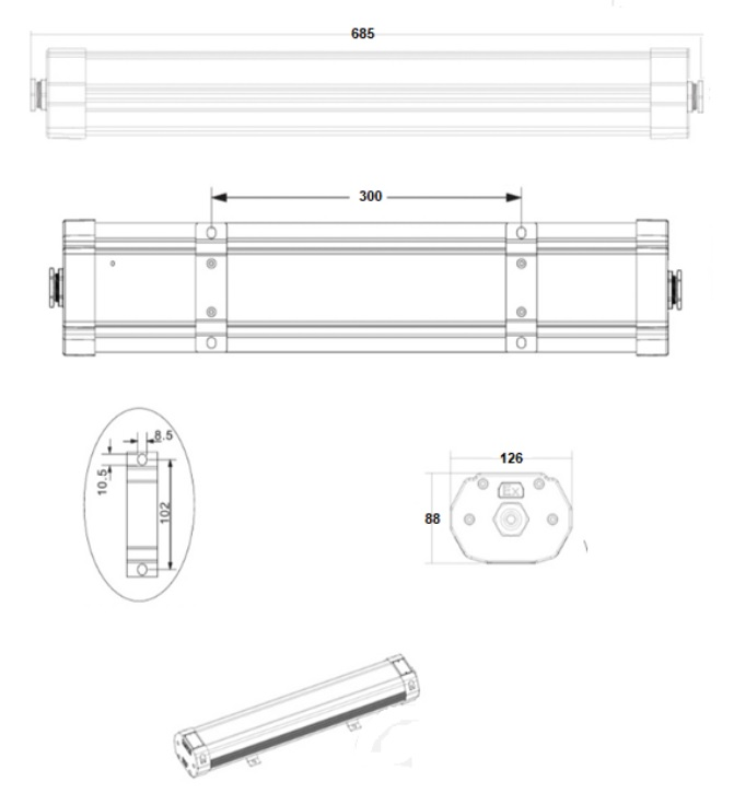 Luminaria estanca GA/SEA KLEX-1011_medidas